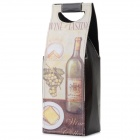 Fashion PU 1-Bottle Wine Bag - Grey + Multi-Color