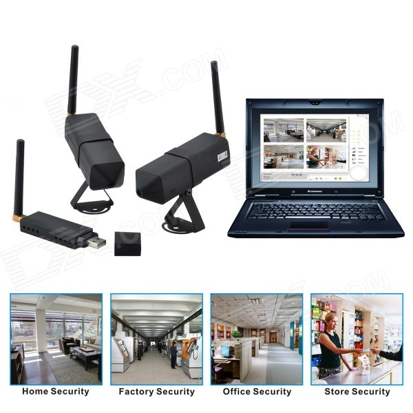"DG80-2-N 1/5"" CMOS 0.3MP Audio & Video Recording 2.4GHz Wireless CCTV Camera Kit w/ Wi-Fi (NTSC)"