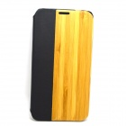 Protective PU Leather + PC + Bamboo Case for Samsung Galaxy S5 - Yellow