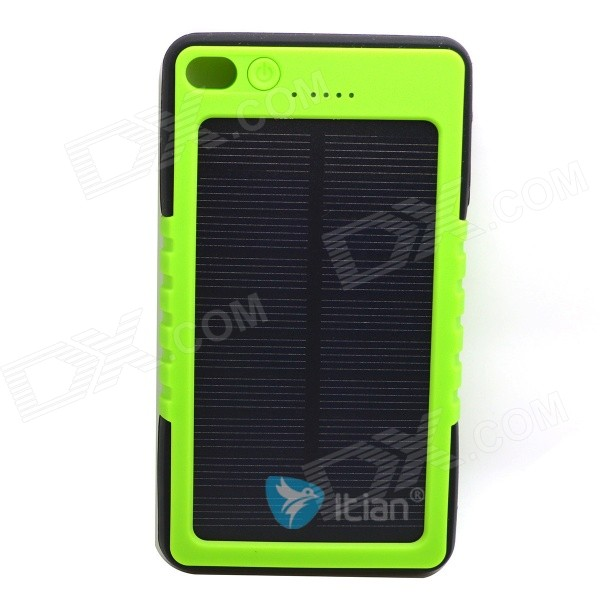 Itian 8000mAh Dustproof Shockproof Water Resistant Li-polymer Battery Solar Power Bank - Green