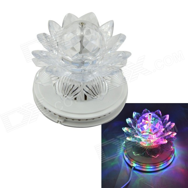Lotus Style 6W 48 + 3-LED RGB Light Auto Rotating Party / Stage Lamp - White (EU Plug) aosl w883 5 e27 8w 640lm 7 led rgb white auto rotating crystal stage light white ac85 260v