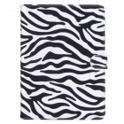 Zebra Pattern Protective PU Leather Case w/ Stand + Auto Sleep for IPAD AIR 2 - Black + White