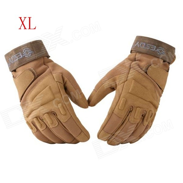 ESDY HYXL-3 Outdoor Racing / Airsoft Hunting / Cycling PU Full-Finger Tactical Gloves - Tan (XL) esdy esdym 3 outdoor cycling anti slip breathable full finger pu tactical gloves tan m