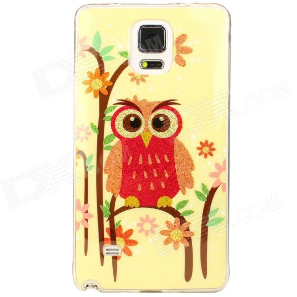 все цены на Shimmering Owl Pattern Protective TPU Back Case for Samsung Galaxy Note 4 - Orange + Pink онлайн