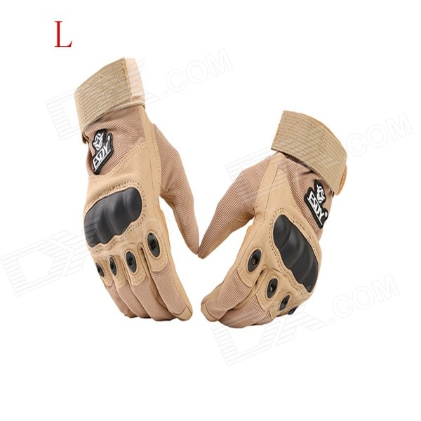 ESDY ESDYL-3 Outdoor Cycling Anti-Slip Breathable Full-Finger PU Tactical Gloves - Tan (L) esdy esdym 3 outdoor cycling anti slip breathable full finger pu tactical gloves tan m