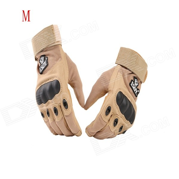 ESDY ESDYM-3 Outdoor Cycling Anti-Slip Breathable Full-Finger PU Tactical Gloves - Tan (M) esdy esdym 3 outdoor cycling anti slip breathable full finger pu tactical gloves tan m