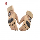ESDY ESDYM-3 Outdoor Cycling Anti-Slip Breathable Full-Finger PU Tactical Gloves - Tan (M)