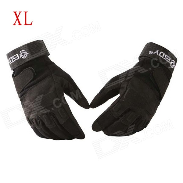 ESDY HYXL-1 Anti-slip Outdoor Cycling Climbing Full-Finger PU Tactical Gloves - Black (XL / Pair) esdy esdym 3 outdoor cycling anti slip breathable full finger pu tactical gloves tan m