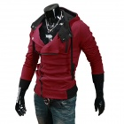 W20 Men's Fashionable Slim Hooded Sweatshirt Hoodie - Claret Red (Size XL)