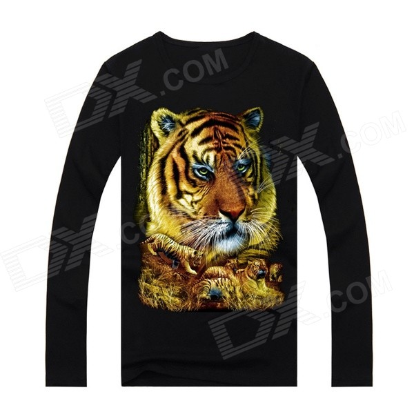 NT00738 Men's Trendy Tiger Patterned 3D Printing Long-sleeved Cotton T-shirt - Black (M)
