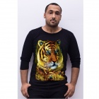 NT00738-3 Men's Trendy Tiger Patterned 3D Printing Long-sleeved Cotton T-shirt - Black (XXL)