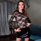 Women's Lace Bodycon See-through Long-sleeved Mini Dress Sexy Lingerie - Black