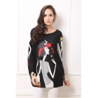 Women's Trendy Cartoon Pattern Rhinestone-studded Long-sleeved Cashmere Top - Black + Multi-Color