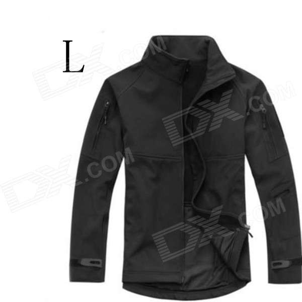 ESDY-0104 Outdoor Sports Wind & Water Resistant Warm Tactical Soft Shell Jacket Coat - Black (L) soft shell 001 apex jacket