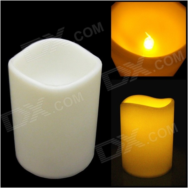 PZCD MY-22 Flickering Flameless LED Paraffin Wax Candle for Party Decoration - Beige (3 x AAA)