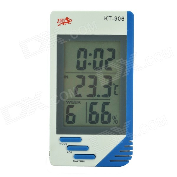 KT-906 3 LCD Digital Thermometer w/ Time, Calendar, Clock Alarm, Hourly Chime Function (1 x AAA) novelty run around wake up n catch me digital alarm clock on wheels white 4 aaa