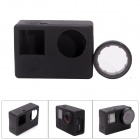 Shell Case CS-Fat Cat 4 de protection en silicone w / Filtre UV pour GoPro Hero 4 / 3+ / 3 - Noir