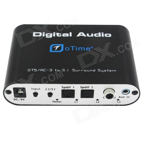 oTime OT-5R DTS / AC-3 Audio Decoder w/ 5.1 Channel 6-RCA Output - Black (EU Plug)
