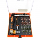 73-in-1 Quick Save Effort Ratchet Telecommunications Tools Screwdriver Set - Black + Orange + Silver