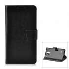 Protective PU + PC Flip-Open Case w/ Magnetic Buckle for Samsung Note 4 - Black