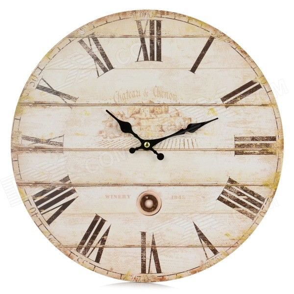 Creative Roman Numbers Round Style Wall Clock - Wood Color (1 x AA)