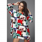 Women's Fashionable Print Pattern Long-sleeved Loose Dress - White + Multi-Colored