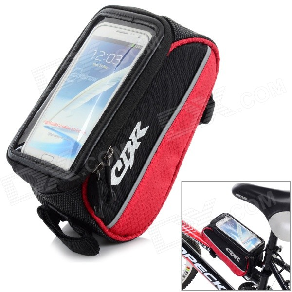 CBR Outdoor Cycling Bike Touch Screen Top Tube Bag - Black + Red