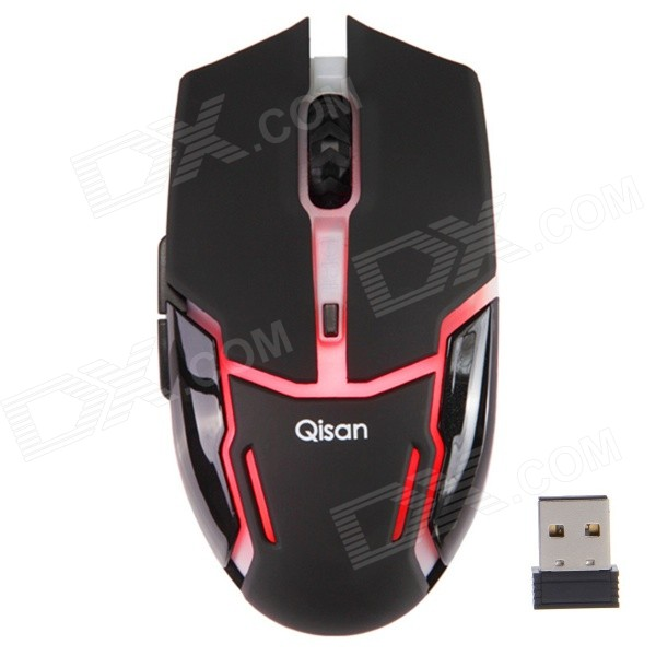 Qisan 800/1000/1200DPI 6-Button Wireless Gaming Mouse - Black