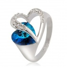 Women's Rhinestones Decorated 18K RGP Heart Style Ring - White + Blue (US Size 9)