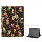 Cute Owl Pattern PU + PC Case w/ Stand for IPAD AIR 2 - Black + Multicolored