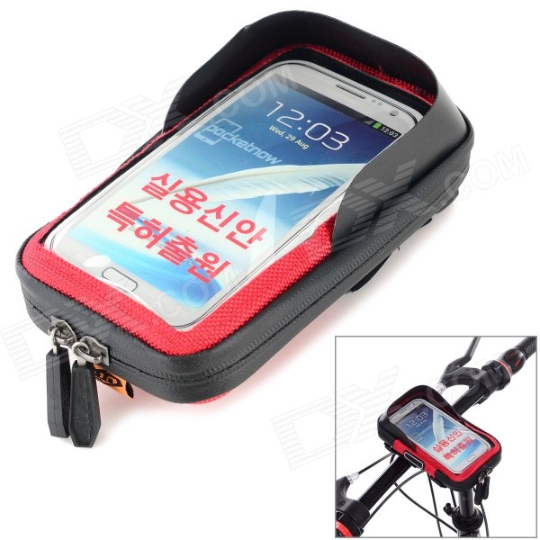 CBR Bike Handlebar Mounted Touch Screen Phone Pouch Case Bag w/ Glare Shield - Black + Red