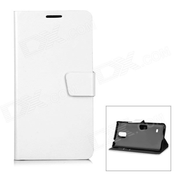Protective PU + PC Flip-Open Case w/ Magnetic Buckle for Samsung Note 4 - White fashion protective pu leather top flip open case w magnetic buckle for samsung i9300 red