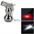 HLQ-8 Gourd Gun Style 2-LED White / Red Light Keychain - Black (3 x AG13)