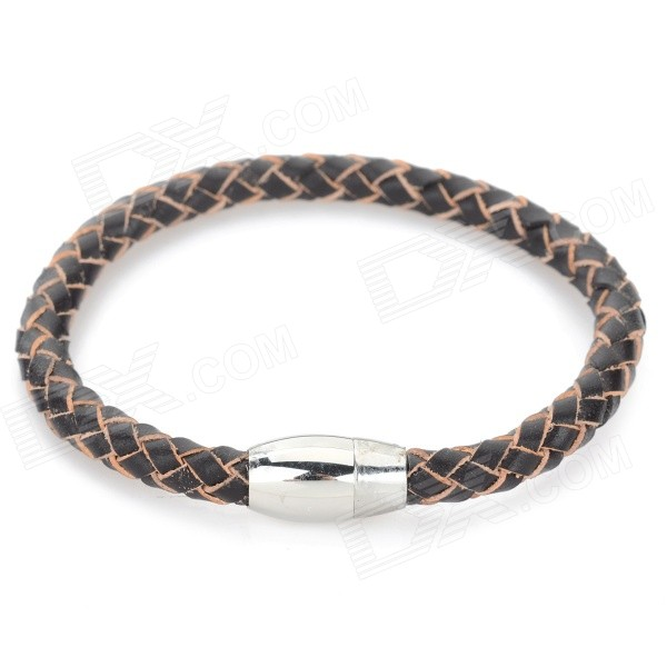 SHIYING sl047 Men's Titanium Steel + Split Leather Bracelet - Brown + Silver fashion cupid ornament split leather bracelet coffee brown multi color
