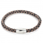 SHIYING sl047 Men's Titanium Steel + Split Leather Bracelet - Brown + Silver