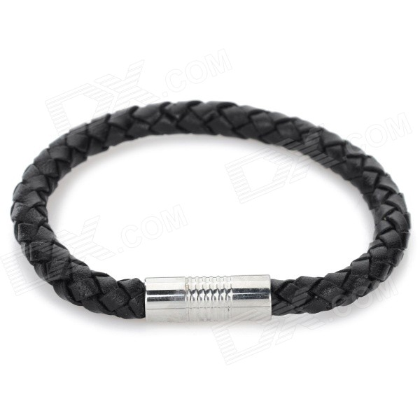 SHIYING Men's Fashion 316L Stainless Steel + Split Leather Bracelet - Black + Silver fashion cupid ornament split leather bracelet coffee brown multi color