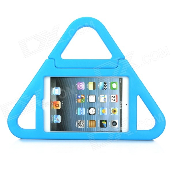 Unique Protective Triangle Style Silicone Back Case w/ Stand for IPAD MINI 2 - Blue unique disk style silicone heat insulation cup pads blue black 2 pcs