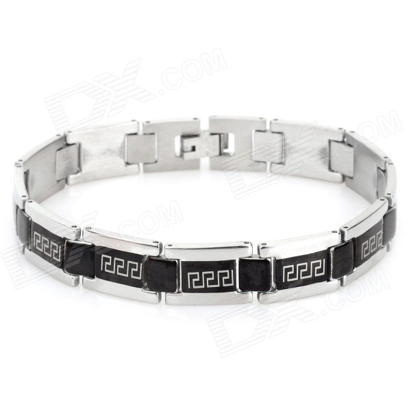 SHIYING SL000064 Men's the Great Wall Design 316L Stainless Steel Bracelet - Black + Silver fashion 316l stainless steel bracelet for man h023