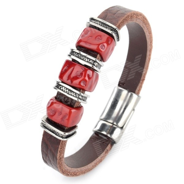 SHIYING sl221 Men's Fashion Split Leather + Resin Bracelet - Brown + Red fashion cupid ornament split leather bracelet coffee brown multi color