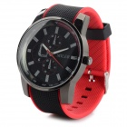 MILER Casual Style PVC Band Analog Quartz Wrist Watch - Black + Red (1 x SR626SW)