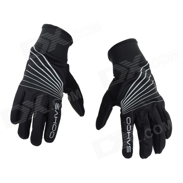 SAHOO Breathable Superfine Fibre + Mesh Cloth Full-Finger Cycling Gloves - Black (Size L / Pair)