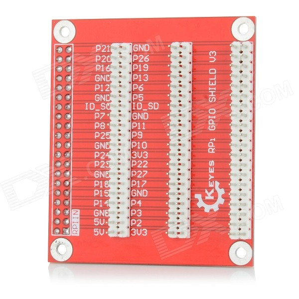 KEYES SMP0048 RPi GPIO Shield V3 Expansion Board - Red