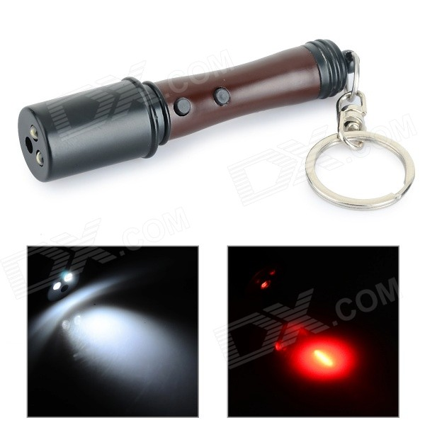 все цены на SLD-2 Hand Grenade Style LED White / Red Light Keychain - Black + Dark Brown (3 x LR41) онлайн
