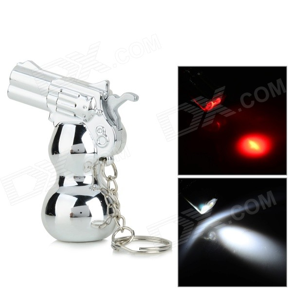 HLQ-8 Gourd Gun Style LED White / Red Light Keychain - Silver (3 x AG13) mikasso s2 0 8 lcd pedometer red 1 x ag13