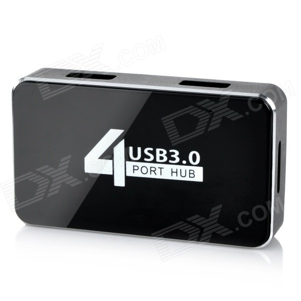 Aluminum Alloy + PVC 4-Port USB 3.0 Hub w/ Data Cable - Black + White