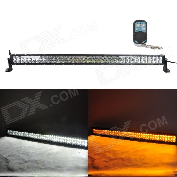 MZ 280W 23400lm White + Yellow Beam LED Worklight Bar Off-road 4WD UTV Lamp w/ Remote Controller foxstar 36w led work light offroad 4x4 off road light bar for atv suv truck boat spot flood combo beam 2880lm universal