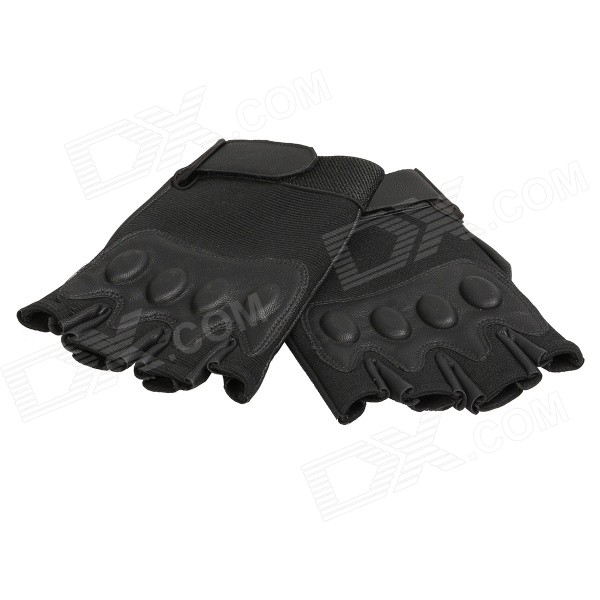 Men's Sunproof Anti-skid Half-finger Nylon + Artificial Leather Cycling Gloves - Black (Pair) digital temperature and humidity controller for incubator xm 18 suit for 24 6336 chicken egg incubator