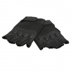 Men's Sunproof Anti-skid Half-finger Nylon + Artificial Leather Cycling Gloves - Black (Pair)