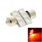 HONSCO Festoon 31mm 1W 80lm 6-5050 SMD LED Red Light Dome License Plate Bulb (DC 12V)