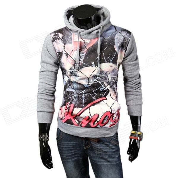 Men's Fashionable Retro Printing Pattern Hooded Sweater - Grey + Multicolor (L)